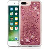 KC Liquid Bling Glitter Floating Sparkle Stars Quicksand Case Hard Transparent Back Cover for Apple iPhone 7 Plus - Rose Gold