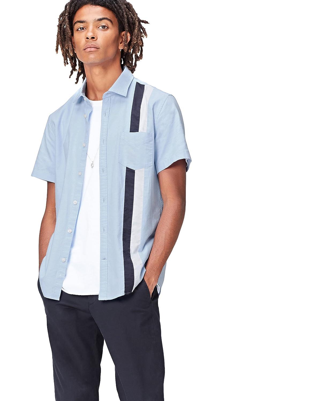 TALLA 56 (Talla del Fabricante: XX-Large). FIND Camisa Entallada de Manga Corta con Bandas Deportivas Hombre