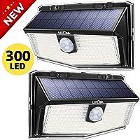 LITOM Luz Solar de Exterior Sensor de Movimiento,300 LED 3 Modos,Iluminación Iluminación ángulo Ancho de 270°,IP67 Impermeable,2 Paquetes