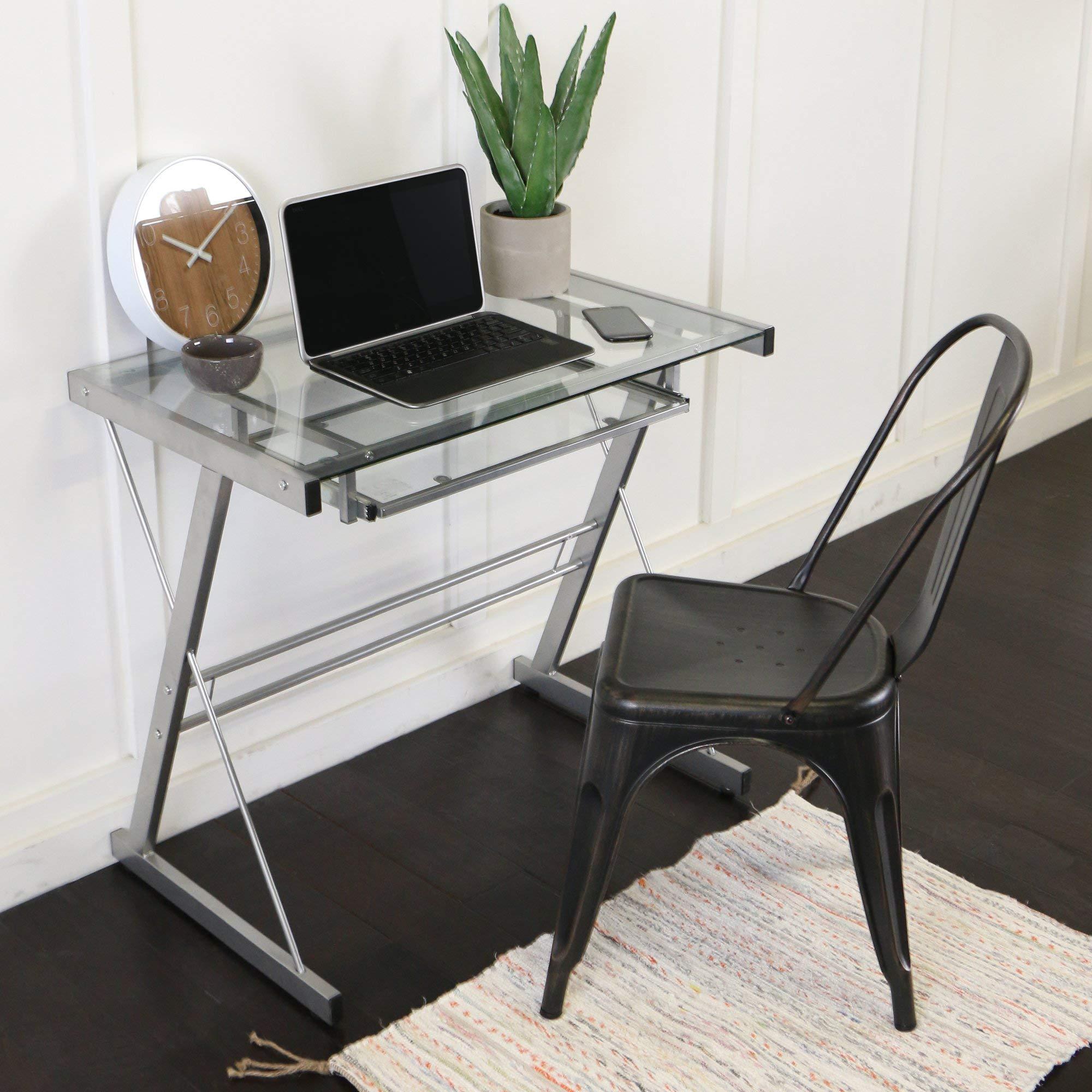 Glass Metal Silver Computer Desk (Renewed)