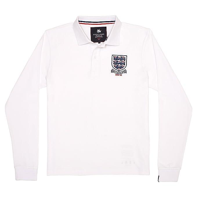 Coolligan - Polo de Fútbol Retro 1951 England - Color - Blanco - Talla - XXL