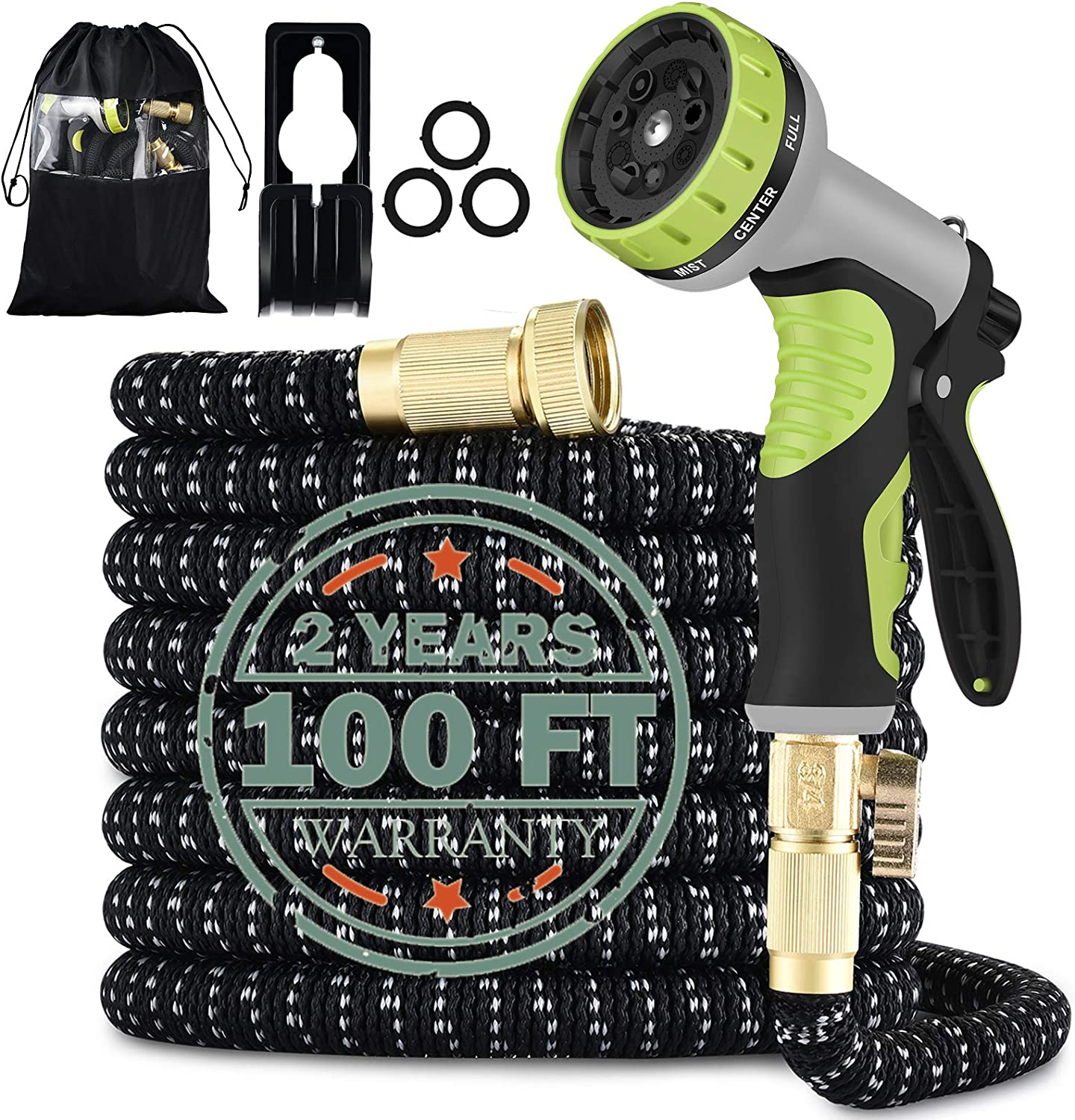 100FT Expandable Garden Hose with 9 Function High Pressure Nozzle, Lightweight Water Hose with Durable 3-Layers Latex Core & 3/4