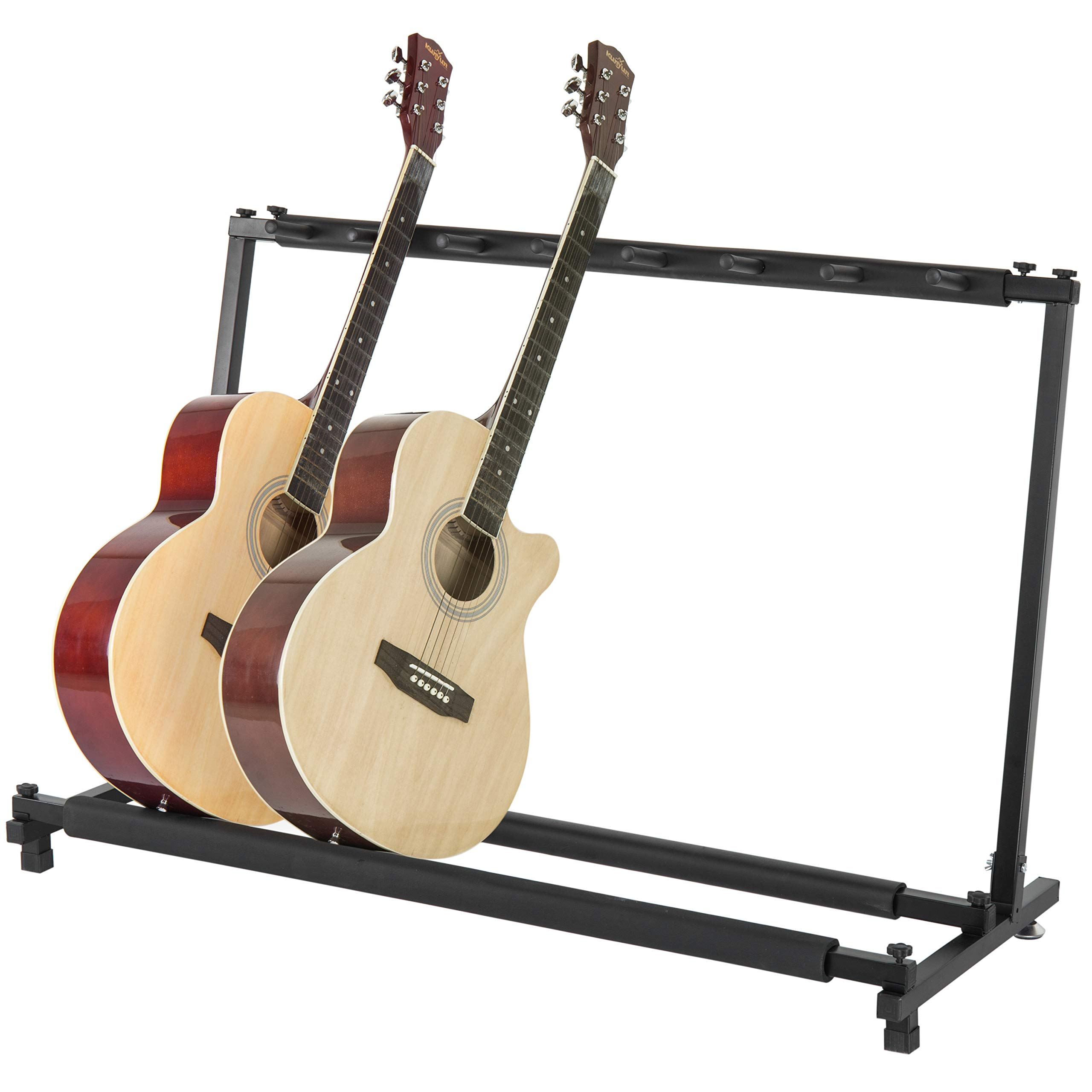 MyGift Padded Black Metal Folding Guitar Stand & Stage Rack