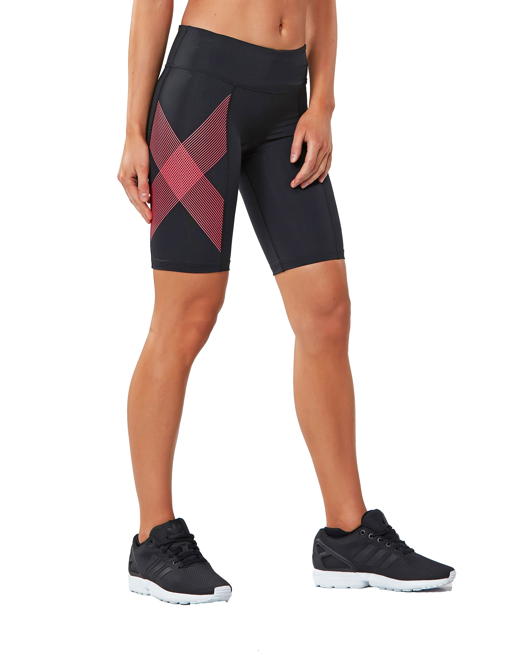 2XU Women's Mid-Rise Compression Shorts, Black/Striped Pink Glow, X-Small by 2XU (Image #1)