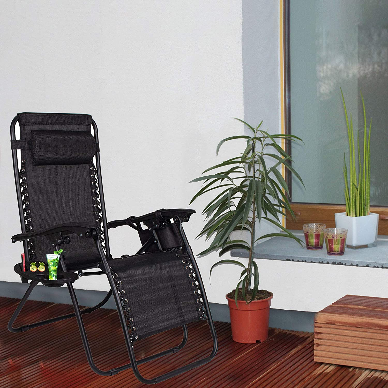 SPRINGOS gris Tumbona de jard/ín con reposacabezas y mesa auxiliar plegable