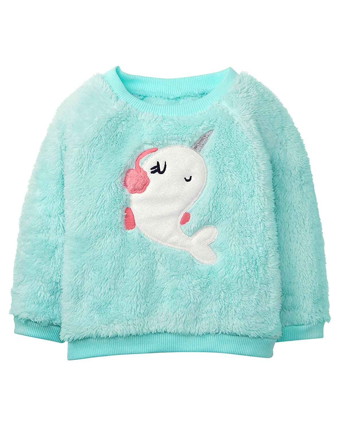 Gymboree Baby Girls Long Sleeve Fuzzy Pullover Concrete 6-12 mo 241814455