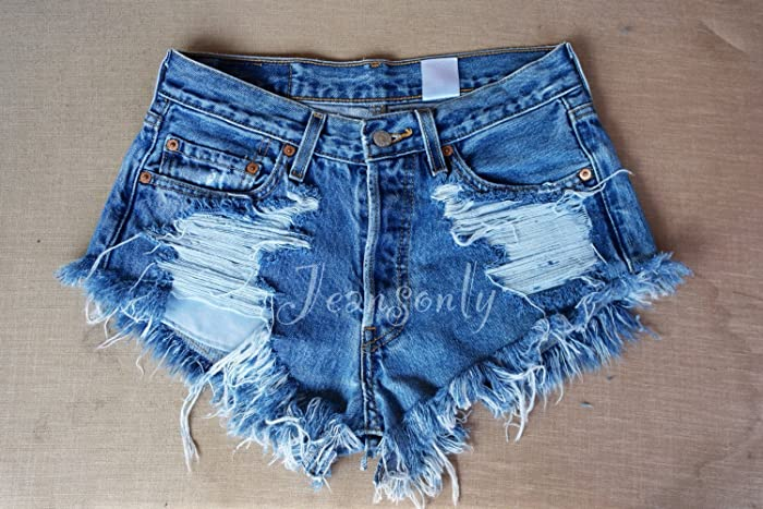 060edc21e3 Image Unavailable. Image not available for. Color  Hipster Grunge clothing  Levi s High waisted denim shorts distressed destroyed ripped shredded jeans  ...