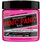 Manic Panic Cotton Candy Pink Hair Dye - Classic High Voltage - Semi Permanent Hair Color - Glows in Blacklight - Bright…