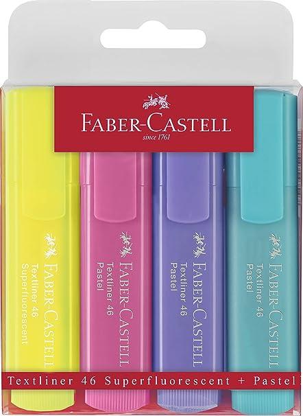 Faber-Castell 154610 Surligneur TEXTLINER 1546 /étui de 4 couleurs pastelles Jaune//menthe//rose//lilas