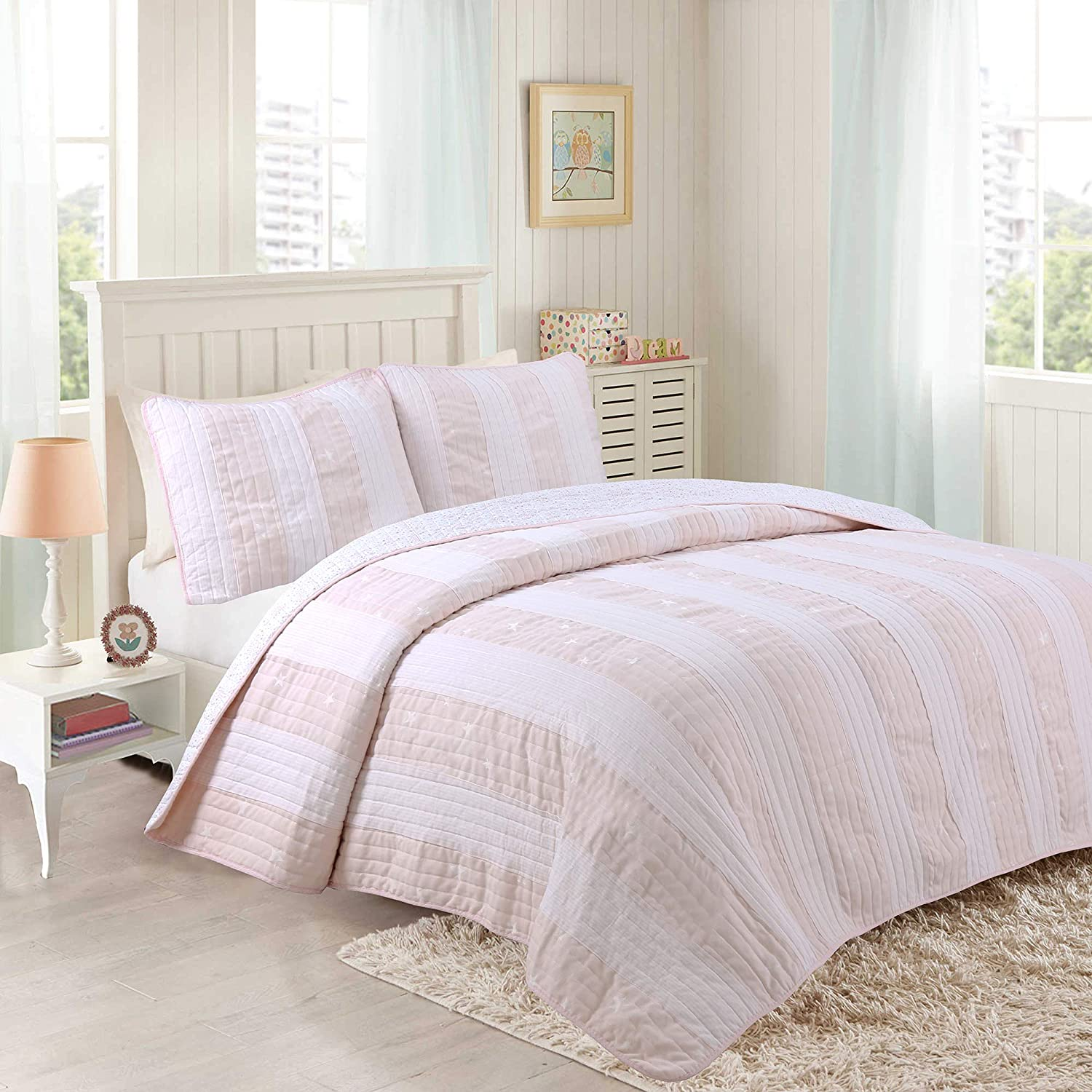 Cozy Line Home Fashions Diana Light Pink/White Stripe Star 100% Cotton  Quilt Bedding Set, Reversible Coverlet Bedspread,Gifts for Her Girl Women  (Pink ...