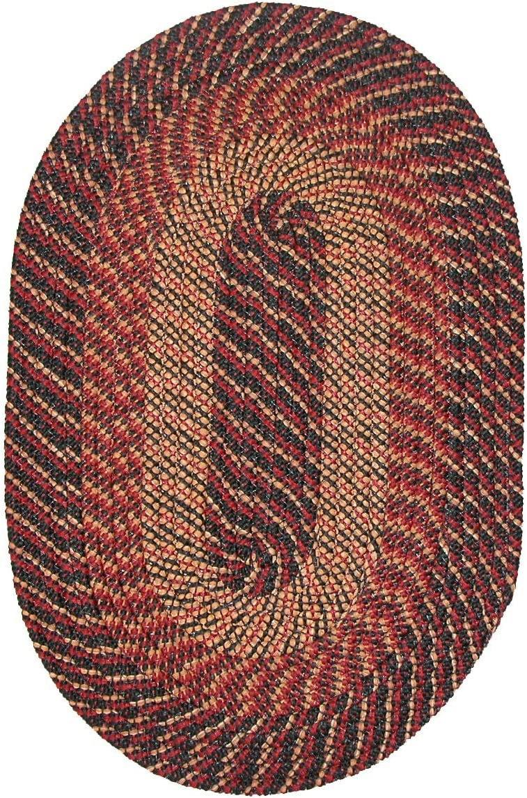 Constitution Rugs Plymouth Round Braided Rug in Black Red Gold 8 Round