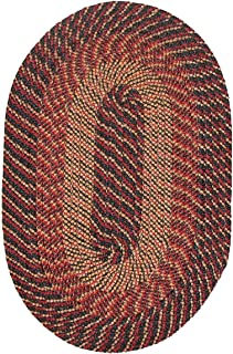 "product image for Plymouth Braided Rug in Black Red Gold 8'6"" x 11'3"" (102"" x 135"") Oval Made in New England"