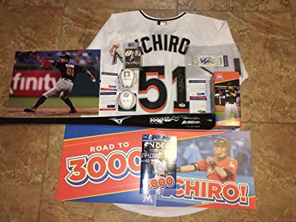 ff4064379 Image Unavailable. Image not available for. Color  Ichiro Suzuki  Autographed Jersey - 3 000 Hit Package Bat HOF Ball 3000 ...