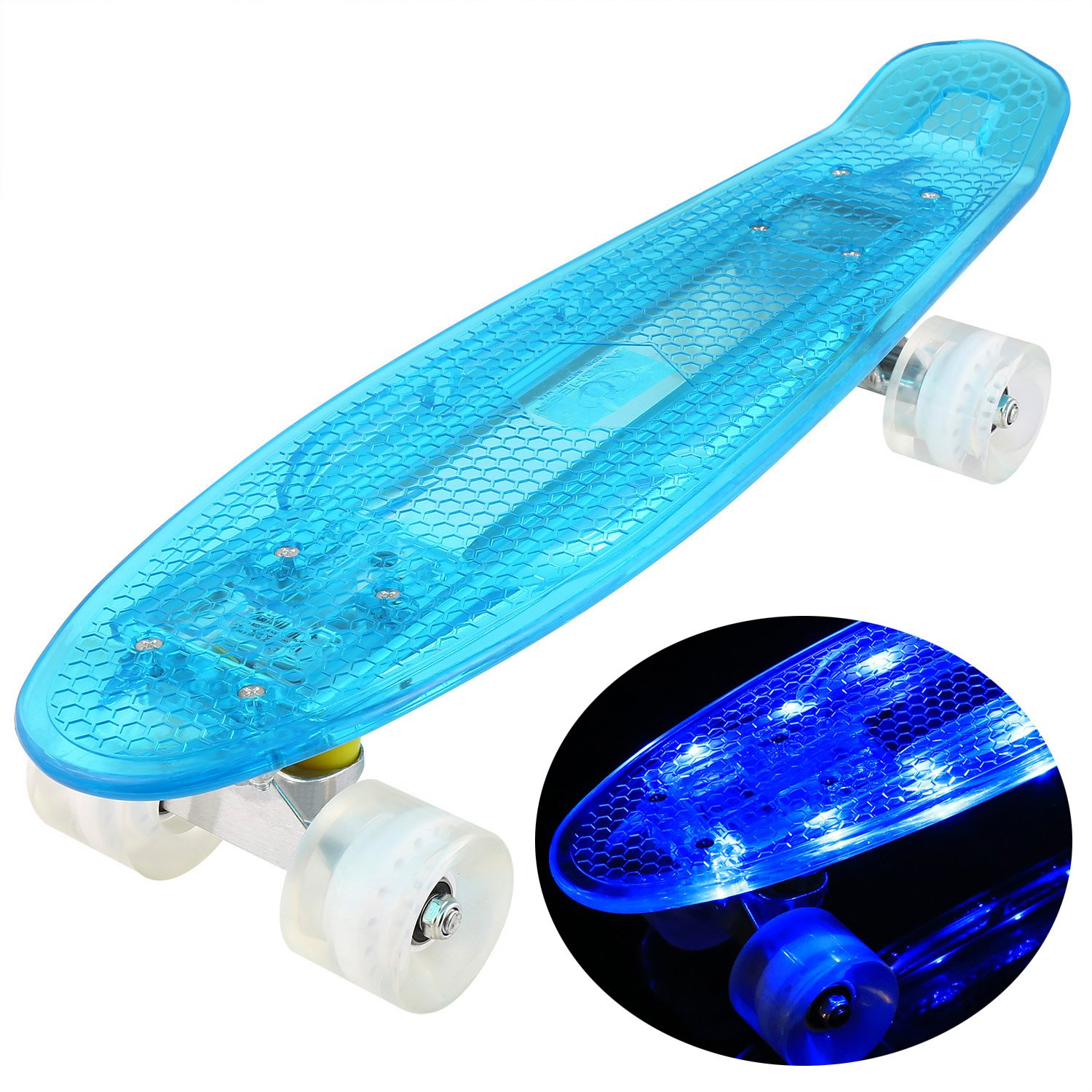 WeSkate Mini Cruiser Skateboard Complete - Crystal 22''x 6'' Skate Board with LED Flashing Light Up Deck for Kids Boys Girls Youths Beginners (Blue White)
