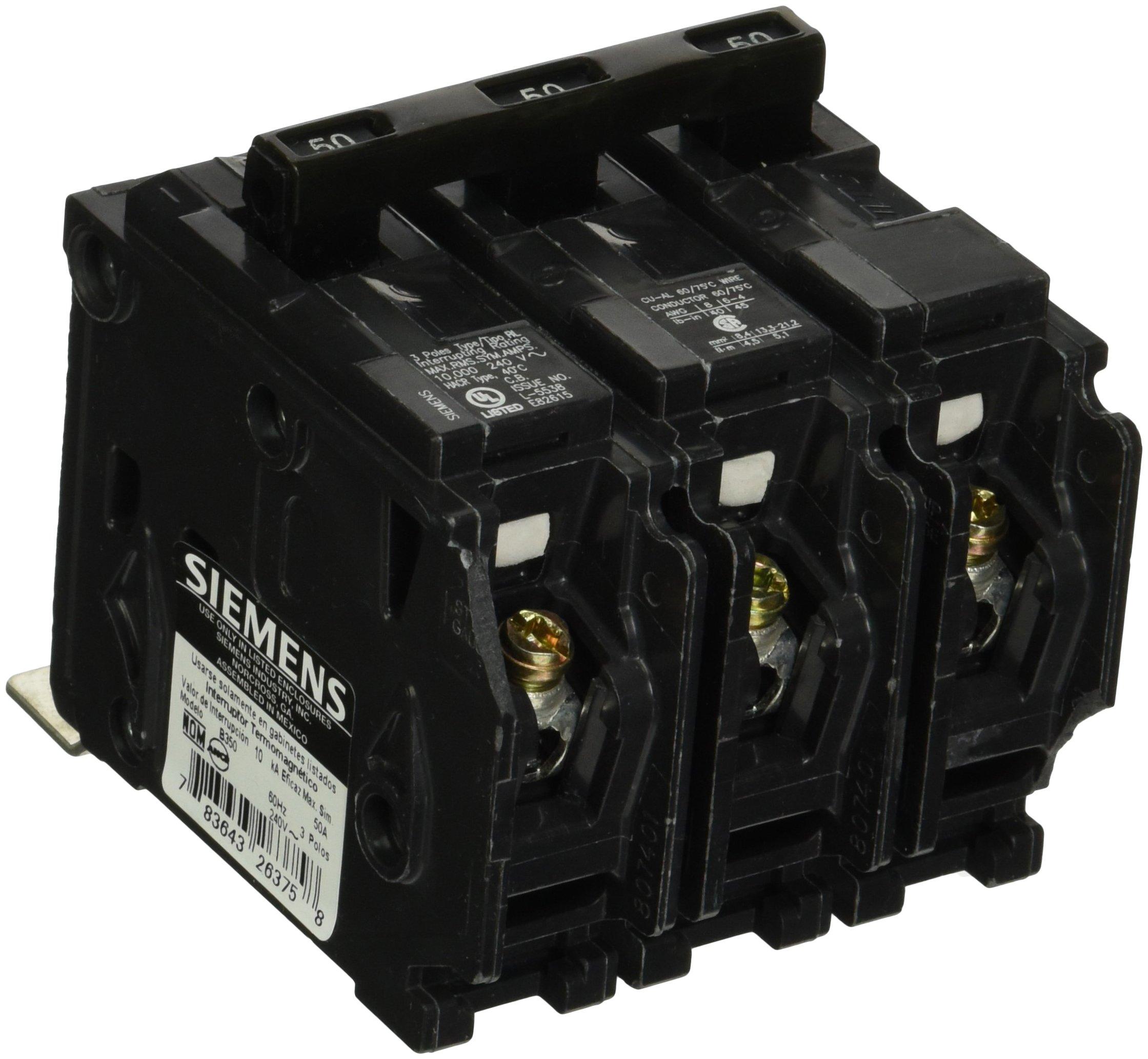 Siemens B350 50-Amp Three Pole 240-Volt 10KAIC Bolt in Breaker by SIEMENS