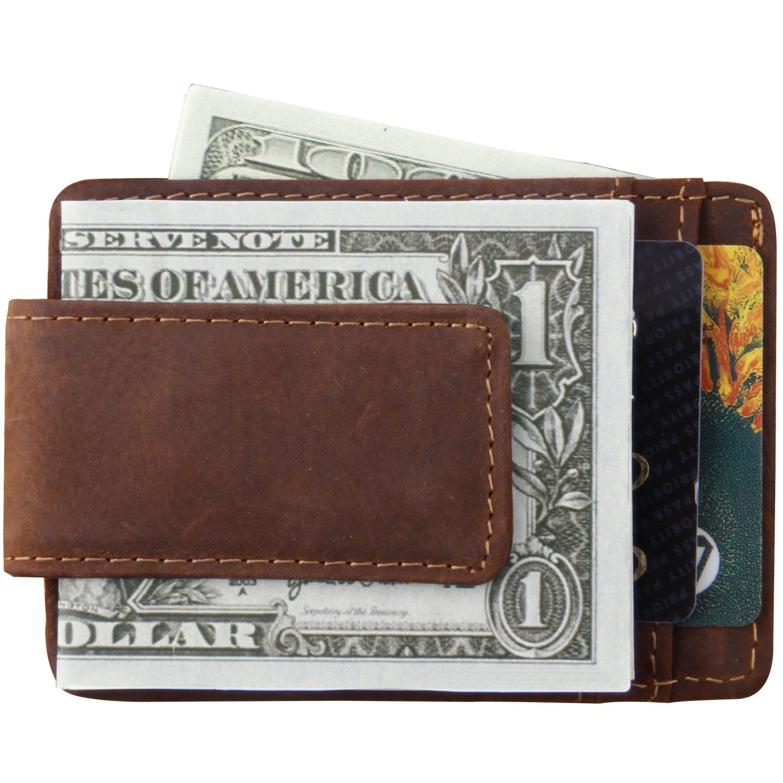 Mcdull メンズマネークリップ財布 本革製 マグネット式フロントポケット 財布 クレジットカードホルダー B06WWQCTLVCrazy Horse Dark Brown