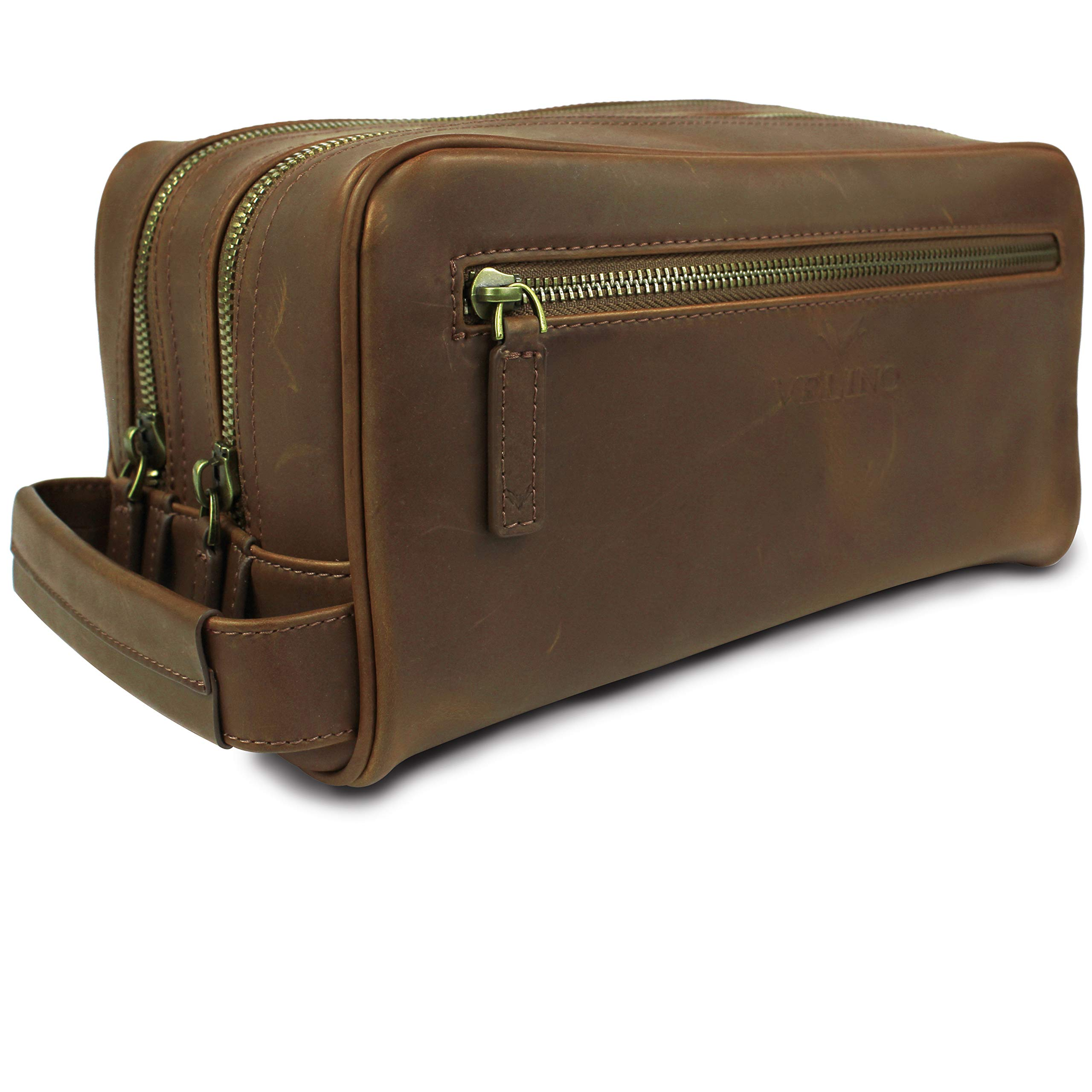 Velino Handmade Genuine Buffalo Leather Unisex Toiletry Bag Travel Dopp Kit Grooming and Shaving Kit ~ Gift for Men Women ~ Hanging Zippered Cosmetic Pouch ~ Bathroom Makeup Case by Velino