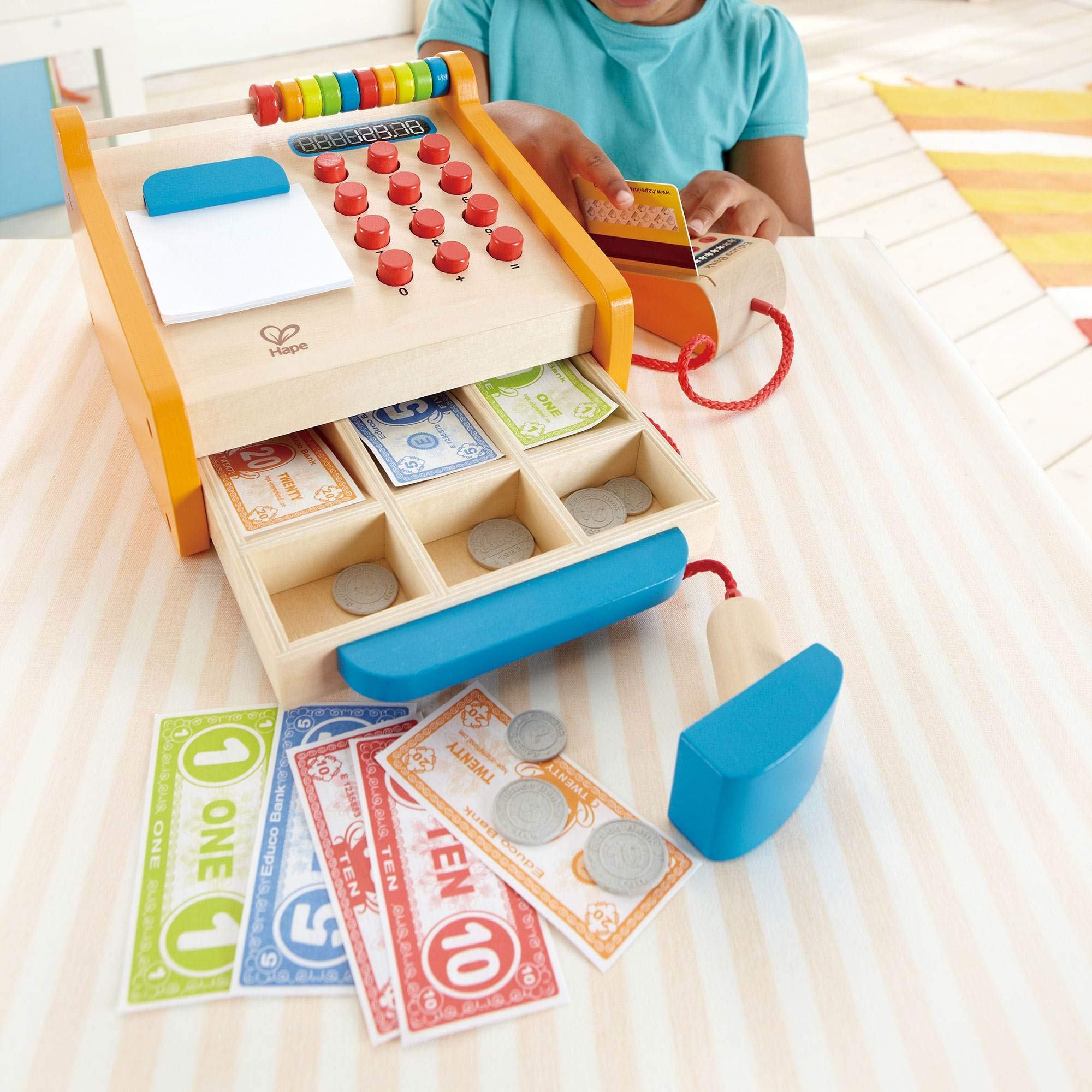 Hape Toys Kids Wooden Cash Register Pretend Playset Wooden Shopping Cart by Hape (Image #3)