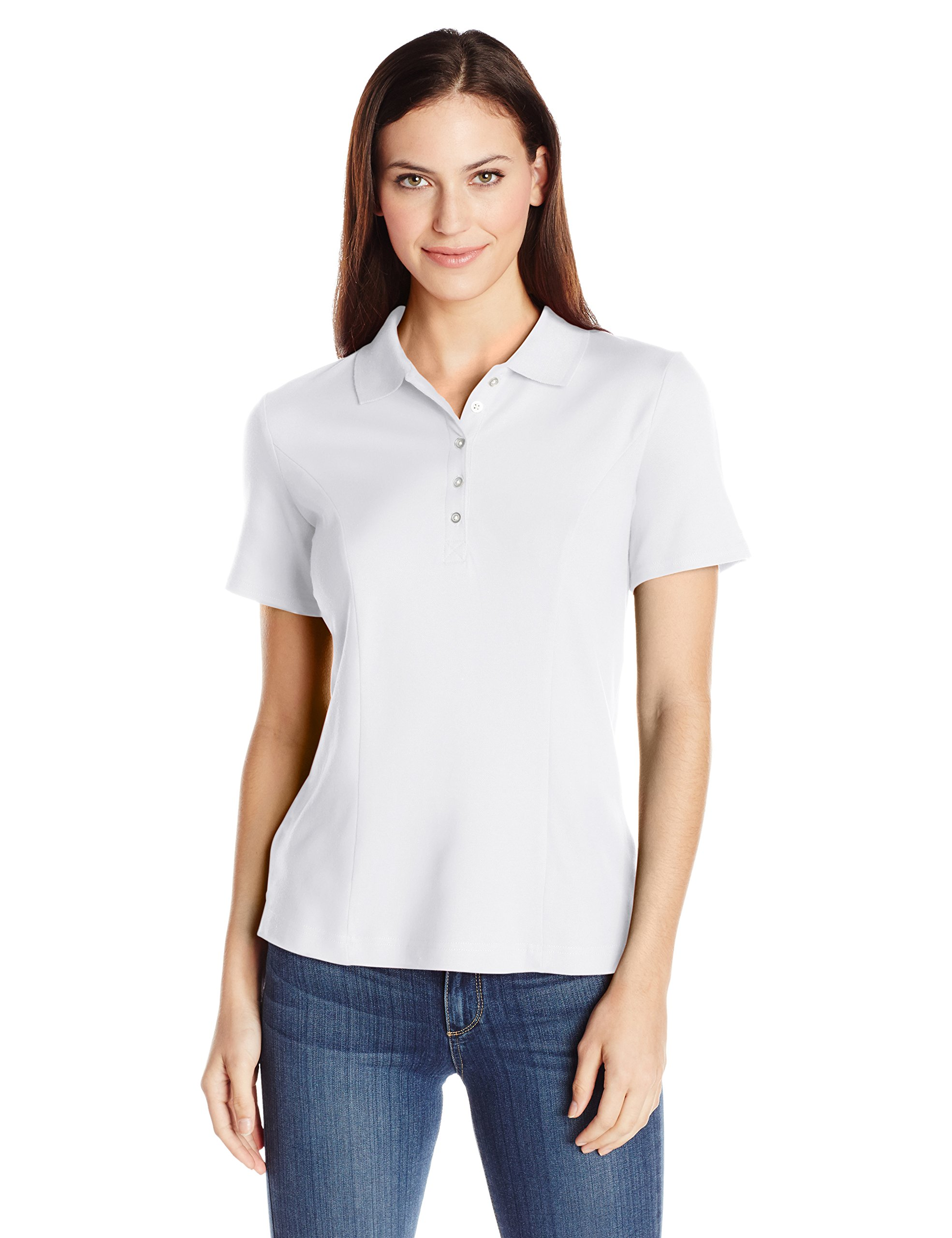 Riders by Lee Indigo Women's Morgan Short Sleeve Polo Shirt, Arctic White, Large