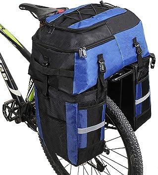 Alforjas 3 en 1 de 70 L para bicicleta, mochila alforja para portaequipajes trasero de bicicleta, bolsa para maletero trasero de bicicleta para llevar todo lo esencial para viajes al aire libre (