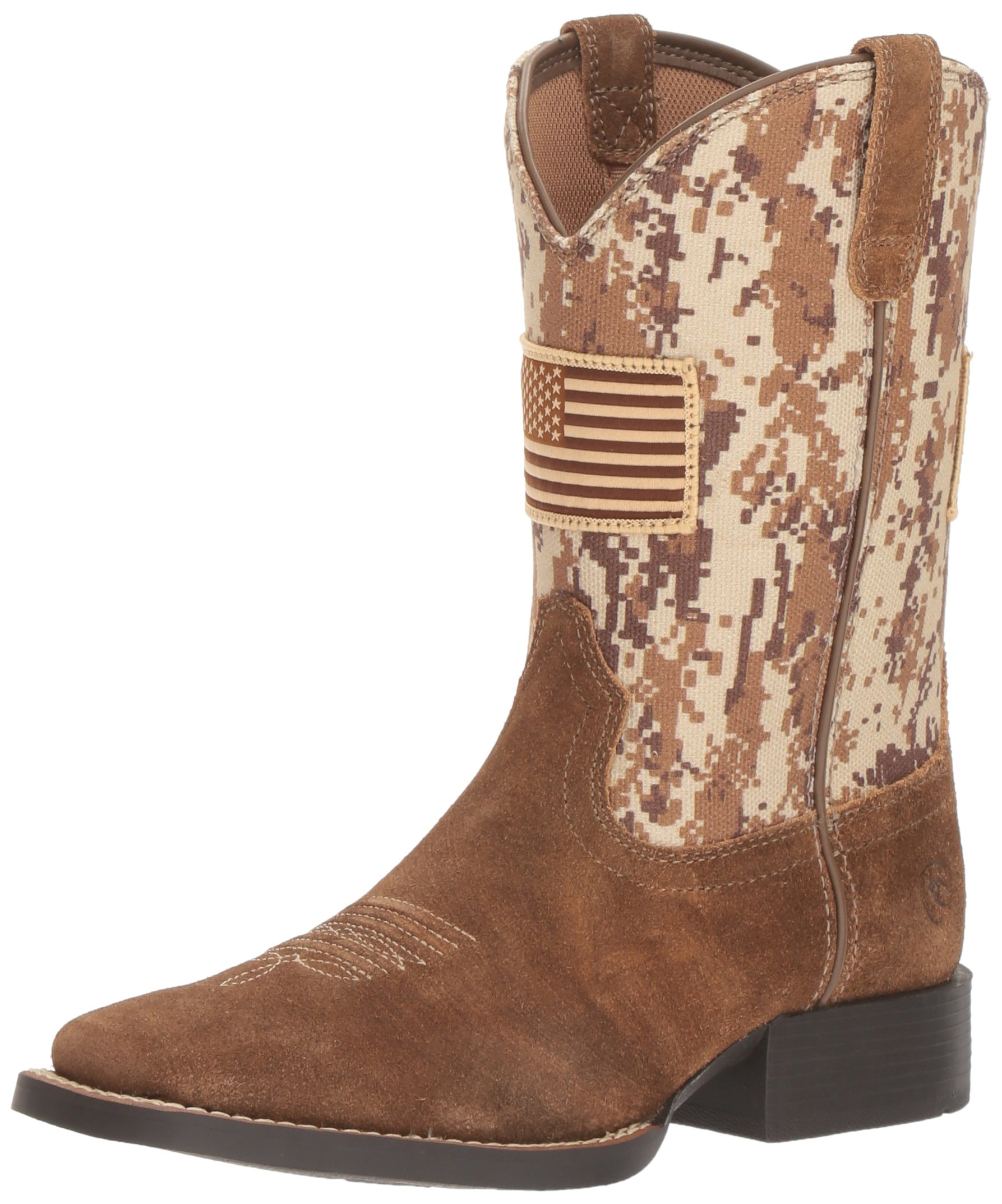 Kids' Patriot Western Cowboy Boot, Antique Mocha Washed Suede, 6 M US Big Kid