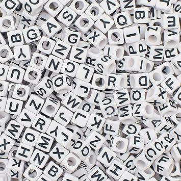 8faa489460cd 1000 piezas de 6 mm blanco acrílico letras del alfabeto A-Z  cuentas cubo  para bisutería