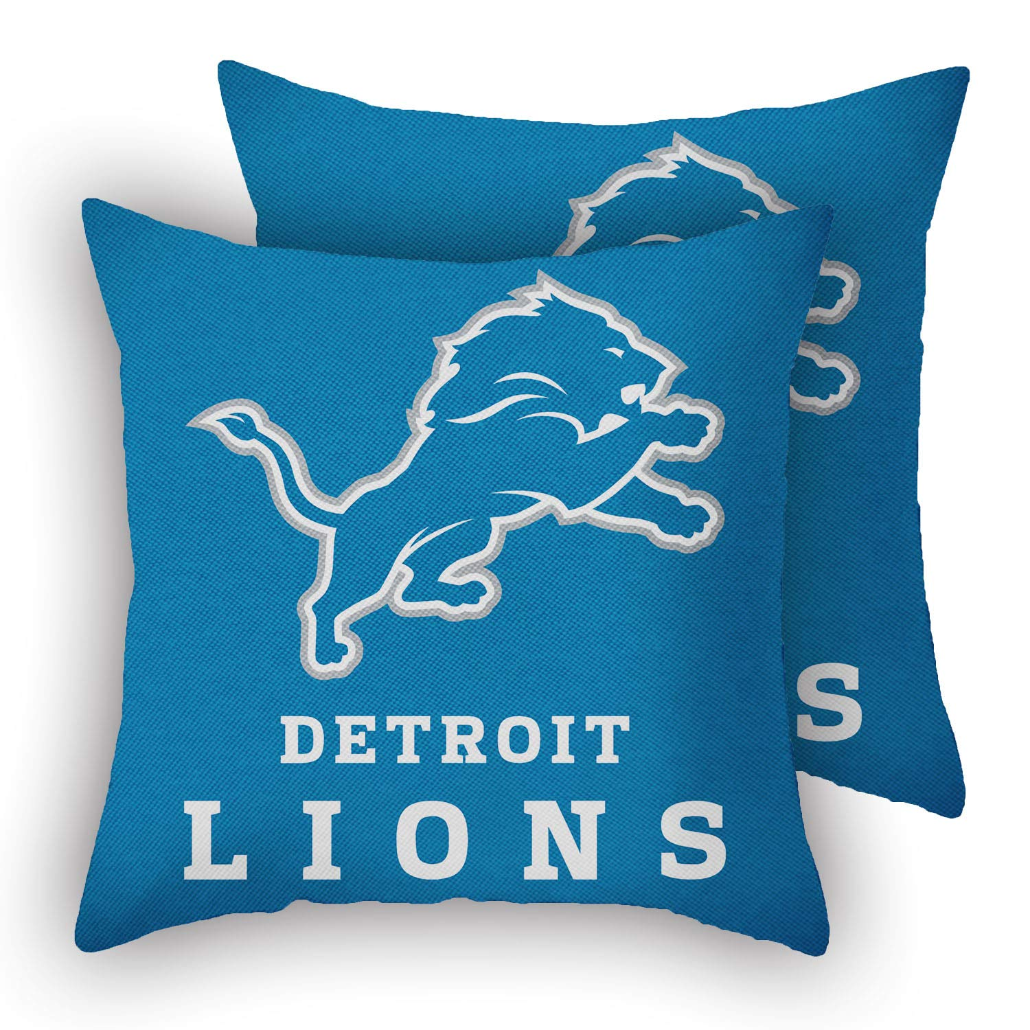 """MT-Sports Football Team Super Bowl Throw Pillow Covers Pillow Cases Two Size Decorative Pillowcase Protecter with Zipper Without Insert Set of 2 (Detroit Lions, 18"""" x 18"""")"""