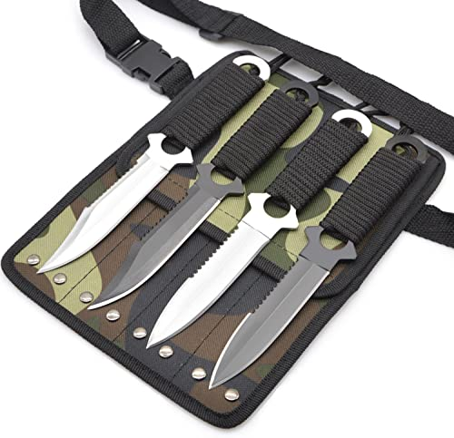 Out Topper Diving Knife Set,Camping Hunting Military Survival Knife with Leg Strap 420C Stainless Steel Tactical Knives,Pack of 4