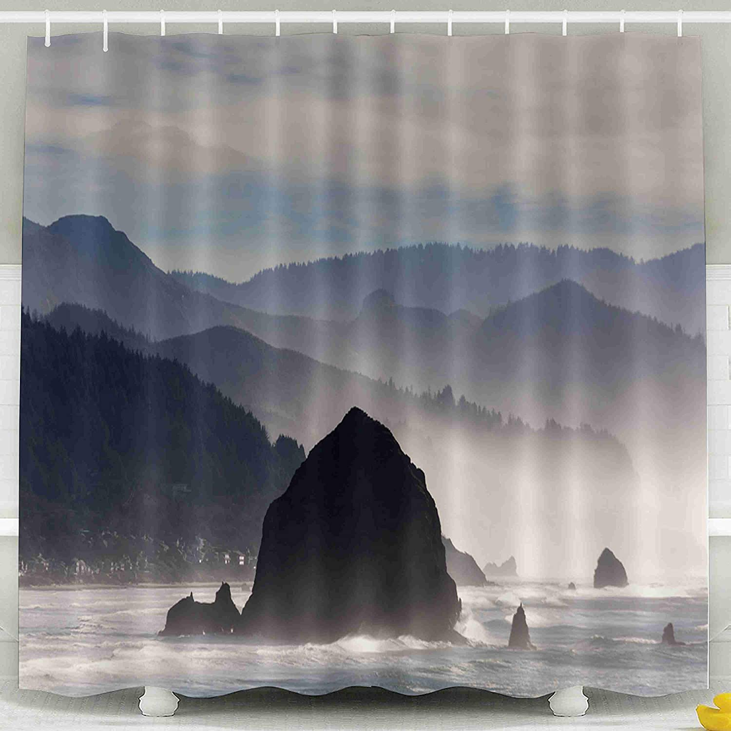 ROOLAYS 78 Shower Curtain,Shower Curtain, Rock in Beach Along Coast The Pacific Ocean Cannon Oregon Waterproof Decorative for Home Décor 78x72 Inch Bathroom Fabric Shower Curtains,Green Ivory
