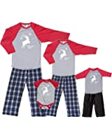 Footsteps Clothing Matching Family Christmas Baseball Shirt Pant Sets Leaping Reindeer