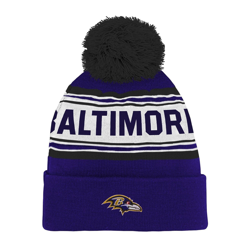 c616f86137b Amazon.com   NFL Youth Boys Jacquard Cuffed Knit Hat with Pom   Sports    Outdoors