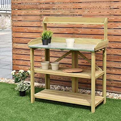 Phenomenal Giantex Outdoor Garden Wooden Potting Work Bench Station Planting Workbench W 3 Shelf Light Cyan Andrewgaddart Wooden Chair Designs For Living Room Andrewgaddartcom