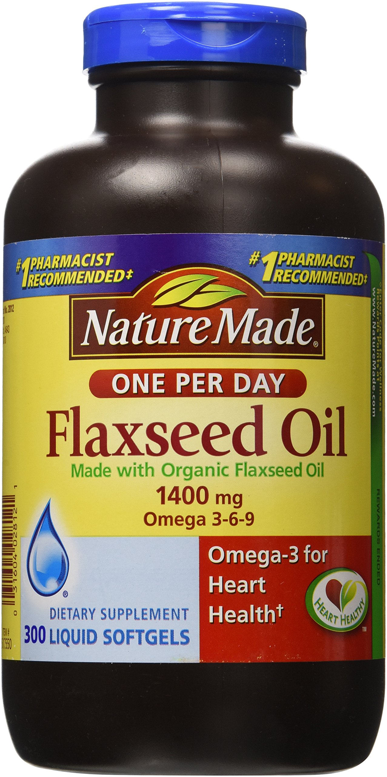 Nature Made Organic Flaxseed Oil 1,400 mg - Omega-3-6-9 for Heart Health - 300 Softgels by Nature Made