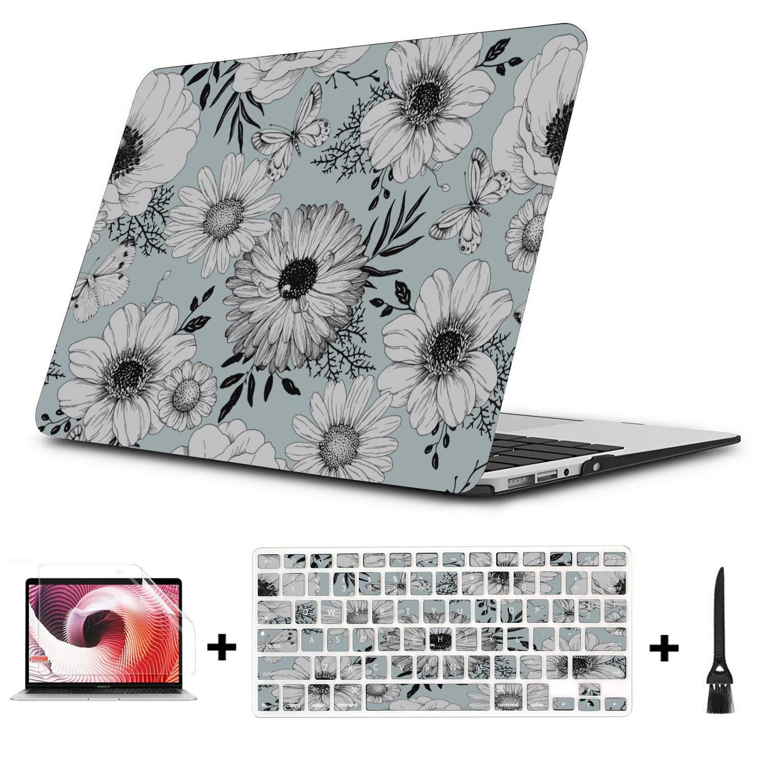 Mac Cover Spring Beautiful White Retro Dahlia Plastic Hard Shell Compatible Mac Air 11 Pro 13 15 Mac Pro Laptop Case Protection for MacBook 2016-2019 Version