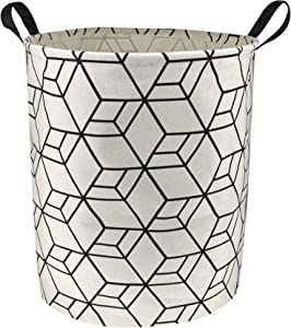 N/P NTAOHAMPER Laundry Basket,Round Cotton Linen Laundry Hamper,Collapsible Storage Bin with Handles for Home,Office,Gift Basket,Room Decor(Geometric H)