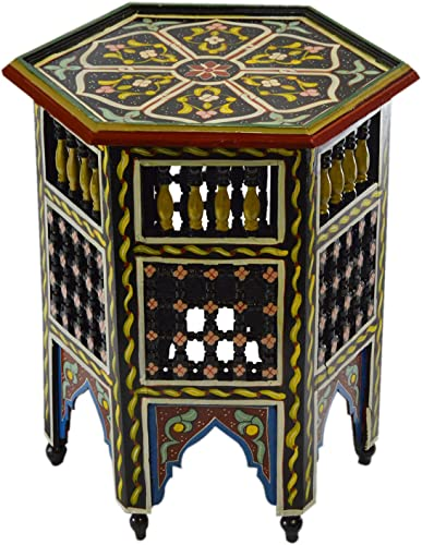 Moroccan Handmade Wood Table Side Moucharabi Delicate Hand Painted Black Exquisite