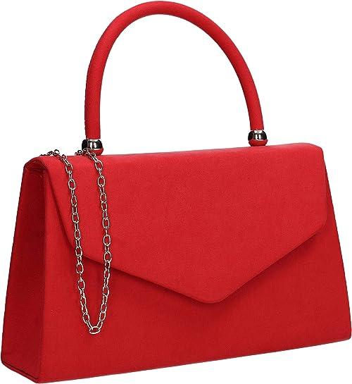 Women Suede Velvet Leather Envelope Ladies Evening Party Prom Wedding Clutch Bag