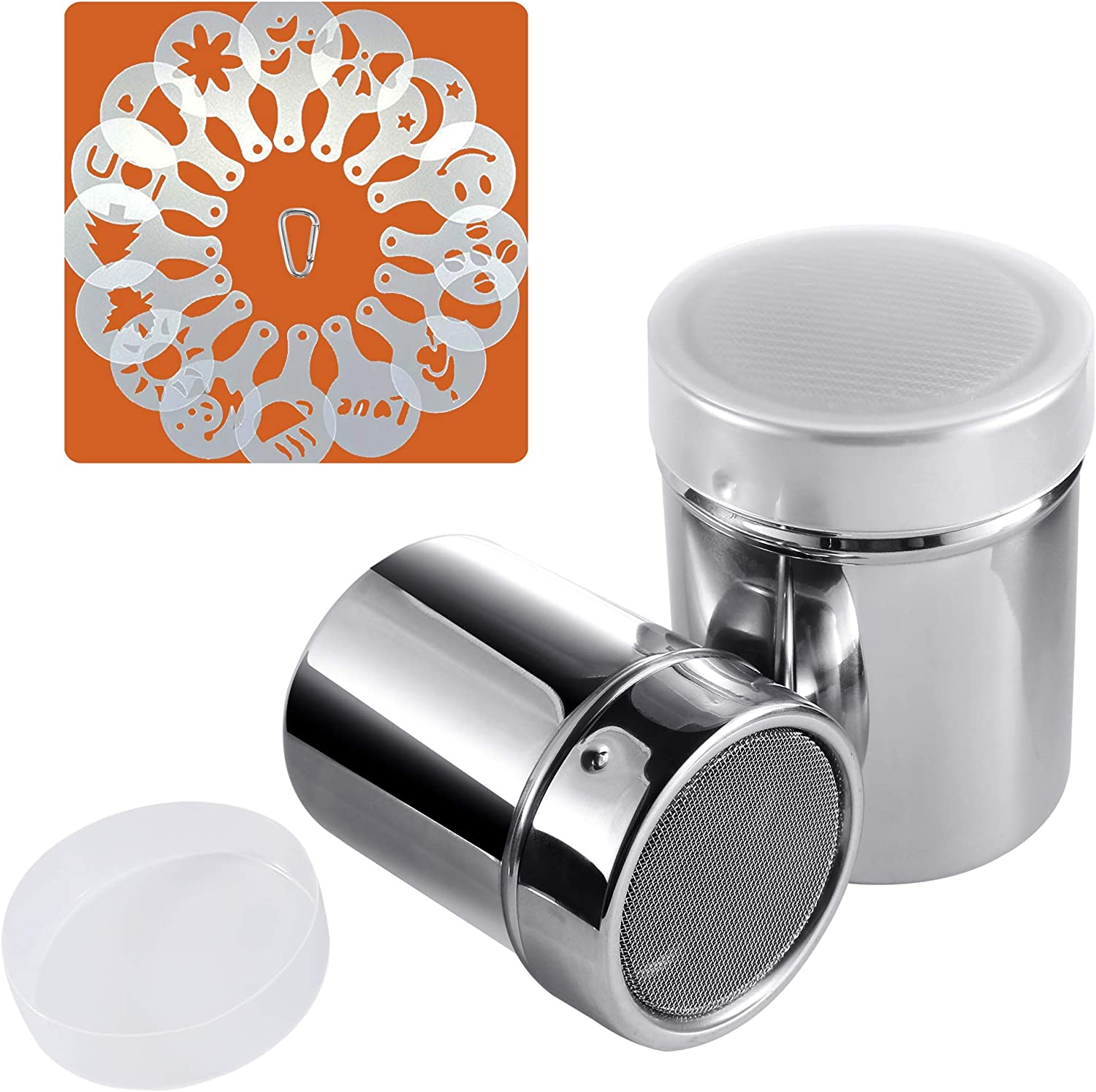 Powder Sugar Shaker with Lid, SOSMAR 2 Sizes 18/8 Stainless Steel Cocoa Cinnamon Mesh Sifter/Sprinkler/Dredgers for Coffee Cappuccino Latte, 16 Pcs ...