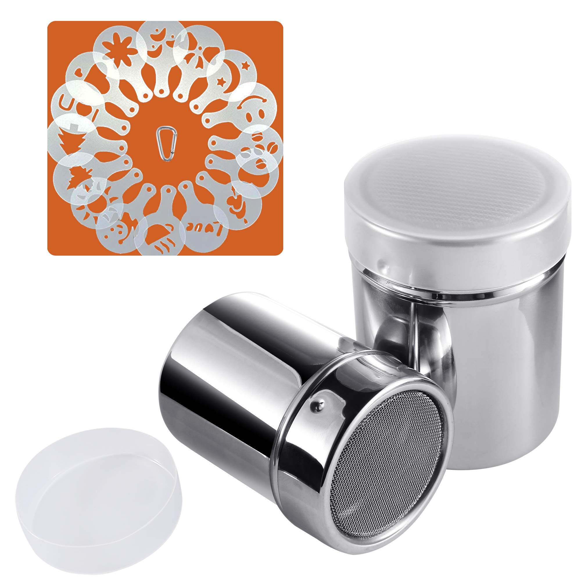 Powder Sugar Shaker with Lid, SOSMAR 2 Sizes 18/8 Stainless Steel Cocoa Cinnamon Mesh Sifter/Sprinkler/Dredgers for Coffee Cappuccino Latte, 16 Pcs Coffee Stencils Template & Clip by SOSMAR
