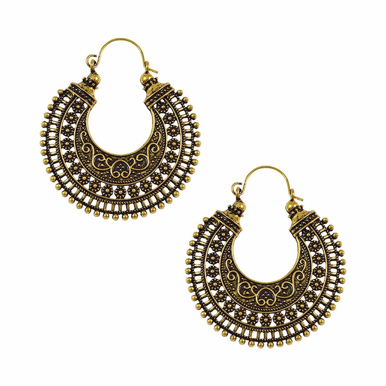 Efulgenz Indian Vintage Retro Ethnic Dangle Gypsy Oxidized Silver Tone Boho Hoop Earrings for Girls and Women Love Gift Jaipur Art Jewellery IER196