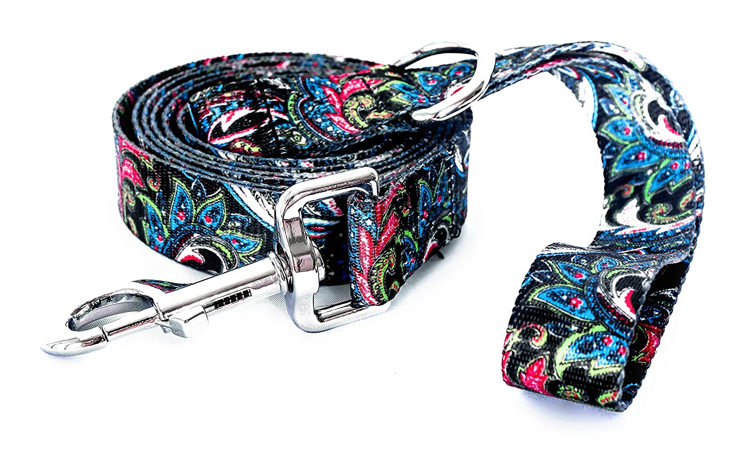 Alpha Lifestyle Pets Dog Leash//Lead 6 Foot Length Teal Paisley Pattern with Matching Collar Sold Separate