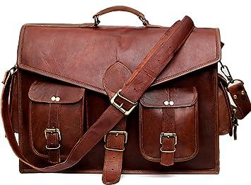 Image Unavailable. Image not available for. Colour  Leather Messenger Bag  for Laptop Briefcase Satchel Bag 18 inch ... 30e20bd1e5073