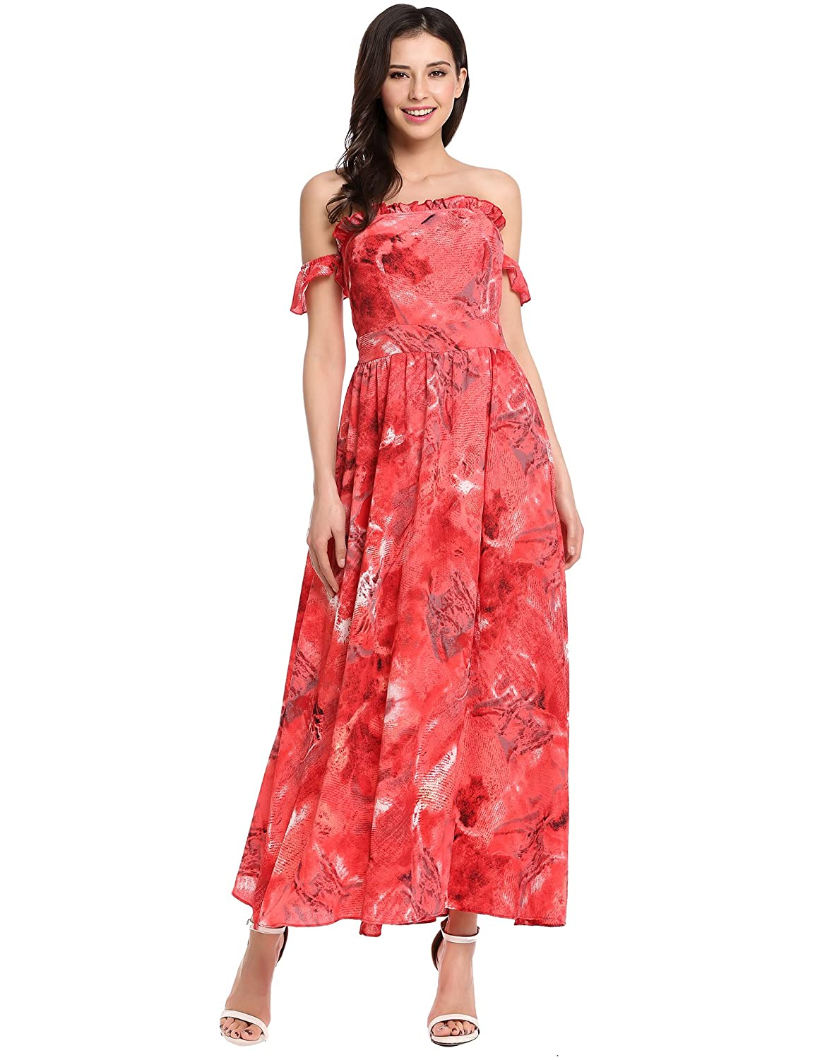 1d006f29cb57 Zeagoo Women s Summer Boho Off Shoulder Long Maxi Casual and Split Floral  Dress at Amazon Women s Clothing store