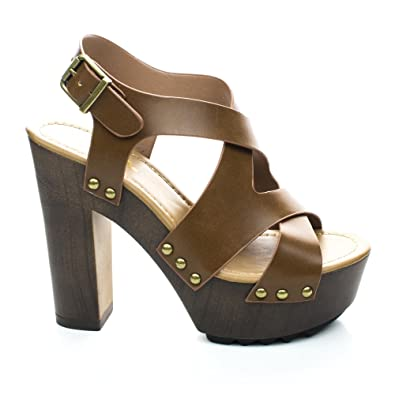 Amazon.com  Kallie Tan Faux Wooden Platform Sandal Chunky Heel