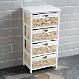Home Discount® Maize Storage Unit White, 4 Drawer