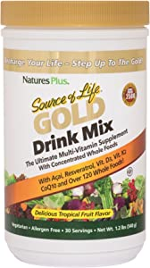 NaturesPlus Source of Life Gold Drink Mix - 1.2 lbs, Vegetarian Drink Mix - Tropical Fruit Flavor - Whole Food Multivitamin Supplement - with Acai, Resveratrol, VIT D3 - Gluten-Free - 30 Servings