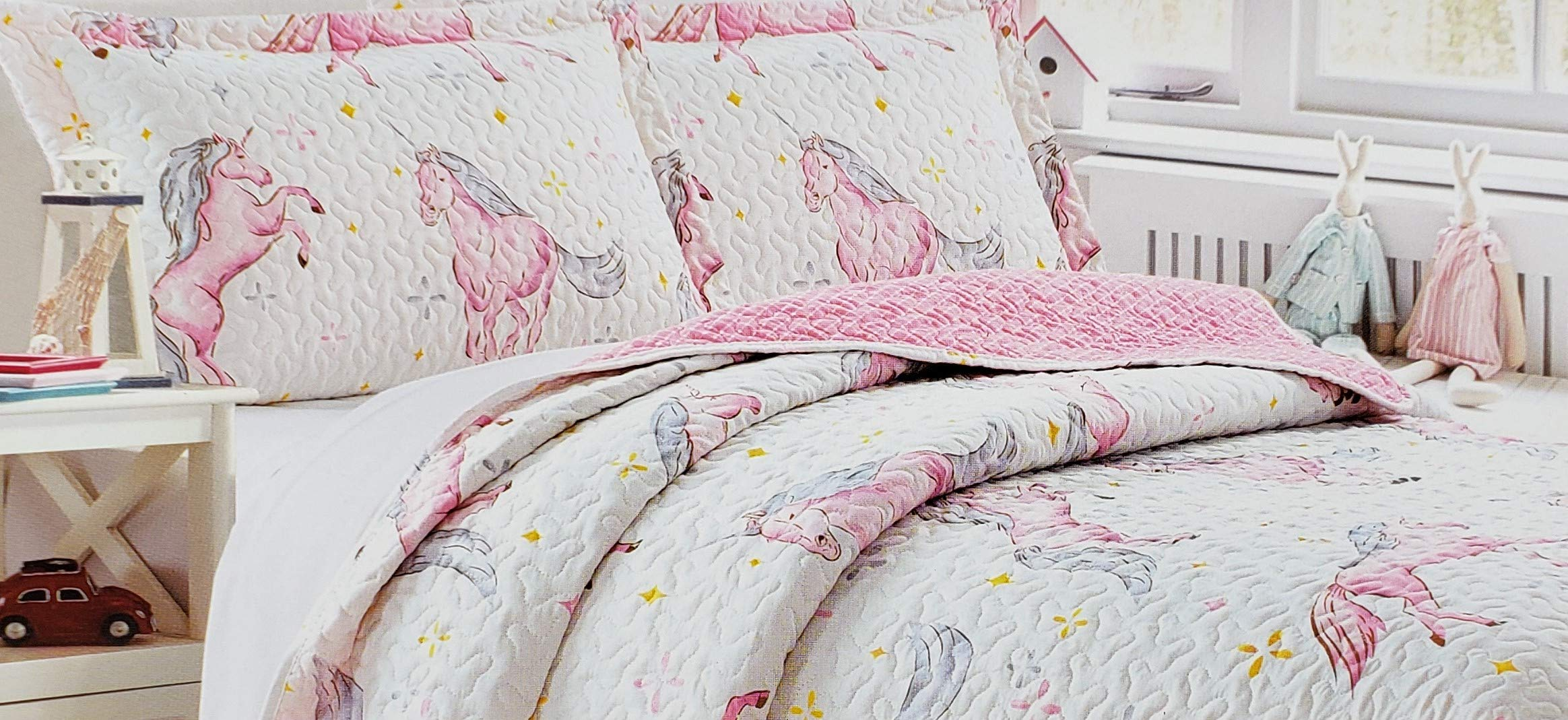 Home & Main Kids 2 Piece Reversible Plush Quilt & Pillow Sham Set (Twin, Pink Unicorn)