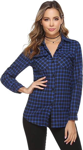 Abollria Camisa de Cuadros para Mujer Blusa Franela Manga Larga Oficina Camisetas con Botones Básico Shirt Casual Estilo de Boyfriend Suelto Tops para Otoño Invierno: Amazon.es: Ropa y accesorios