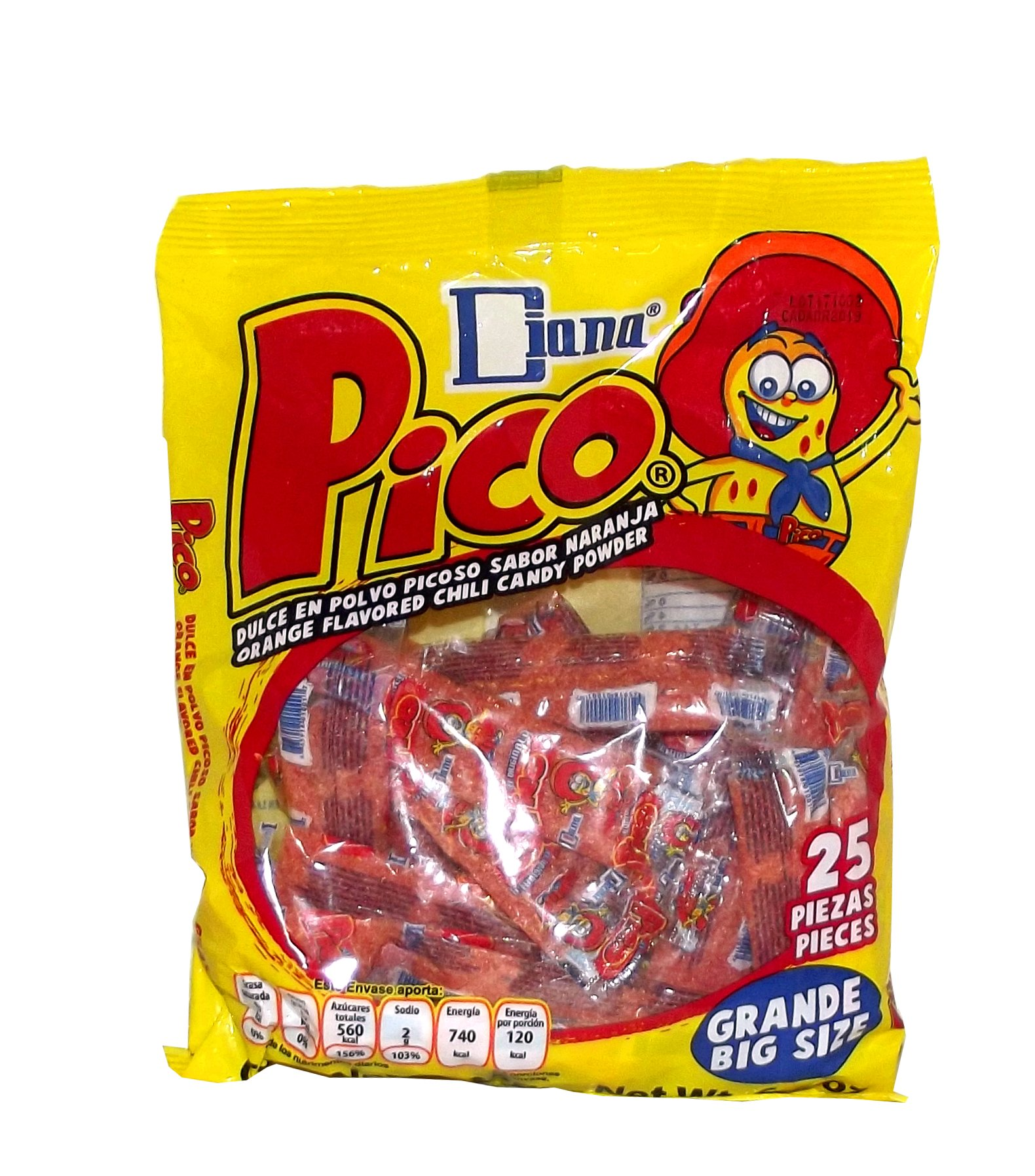 Diana Pico Orange Flavored Chili Powder Candy Packets Grande Pack, 25 pieces