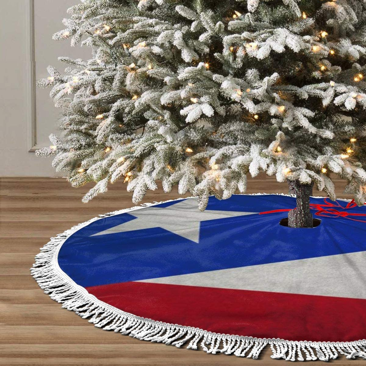 "GHYGTY Christmas Tree Skirt 36"" Inch Puerto Rico Flag Xmas Tree Skirt Mat with White Tassel for Party Holiday, Tree Skirt Christmas Decorations"